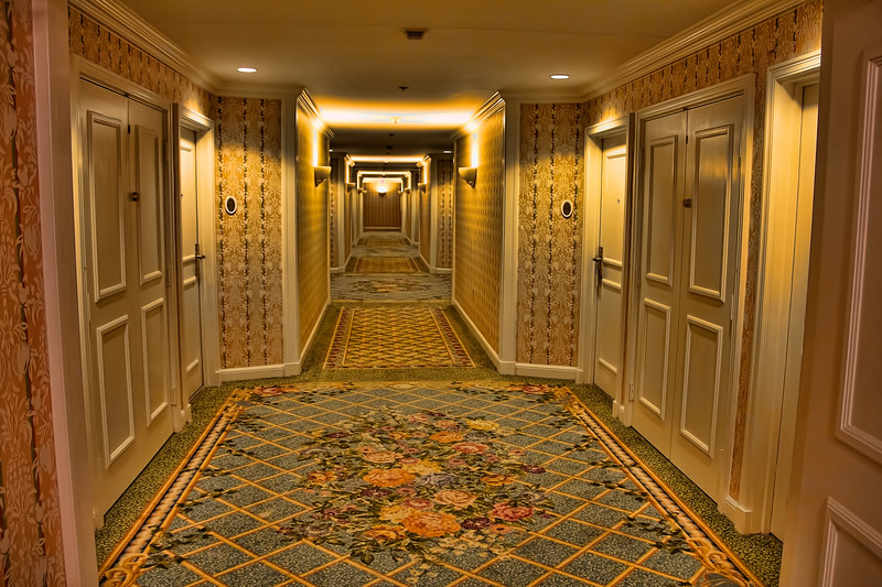 Hallway to our room...If you look real close you can find hidden characters in the carpet.jpg