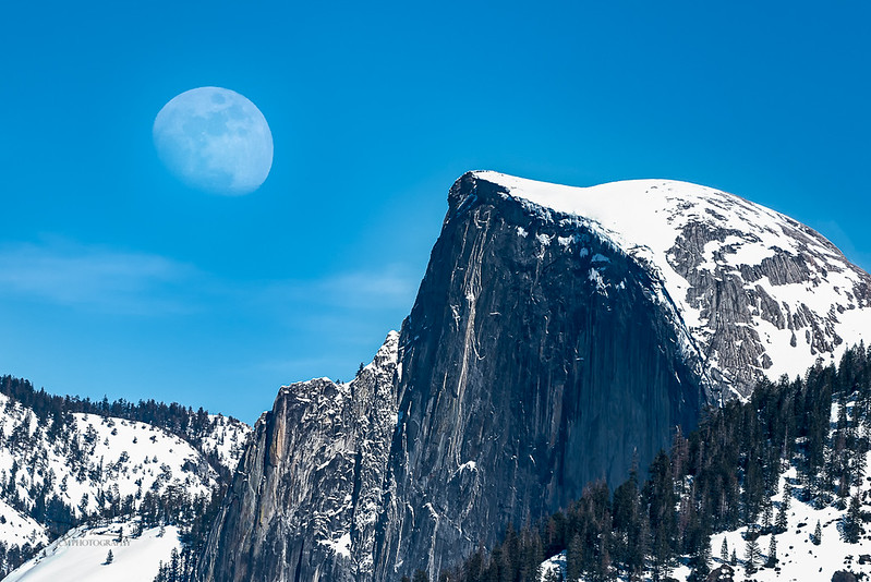 Moonrise over Half Dome. Yosemite, CA