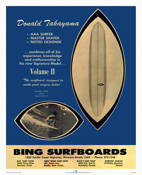 430: Bing Surfboards poster with surfshop locations. Unknown date.