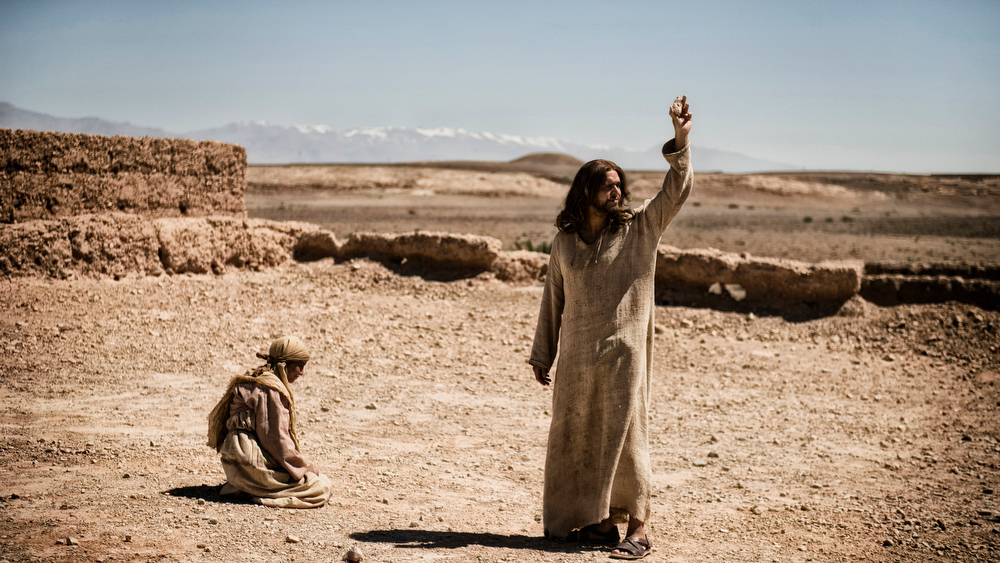 ". This publicity image released by History shows Diogo Morcaldo as Jesus, right, in a scene from ""The Bible.\""  \""The Bible\"" was nominated for an Emmy Award for outstanding miniseries or movie on, Thursday July 18, 2013. The Academy of Television Arts & Sciences\' Emmy ceremony will be hosted by Neil Patrick Harris. It will air Sept. 22 on CBS. (AP Photo/History, Joe Alblas)"