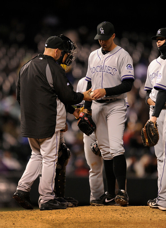. DENVER, CO. - APRIL 16:  Colorado manager Walt Weiss pulled starter Jeff Francis in the fifth inning. The Colorado Rockies hosted the New York Mets in the second game of a doubleheader Tuesday night, April 16, 2013. Monday night\'s game was snowed out at Coors Field.  Photo By Karl Gehring/The Denver Post)