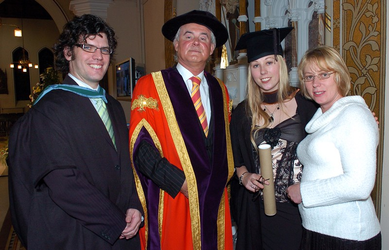 Provision 251006 Pictured L-R are Senior Lecturer Fergus Hegan, Professor Kieran Byrne (Director of WIT) Emma Wigginton, from Schull in Cork, who graduated with a BA (Hons) in Applied Social Studies in Social Care from WIT yesterday (Tuesday) and her mum Eileen. PIC Bernie Keating/Provision