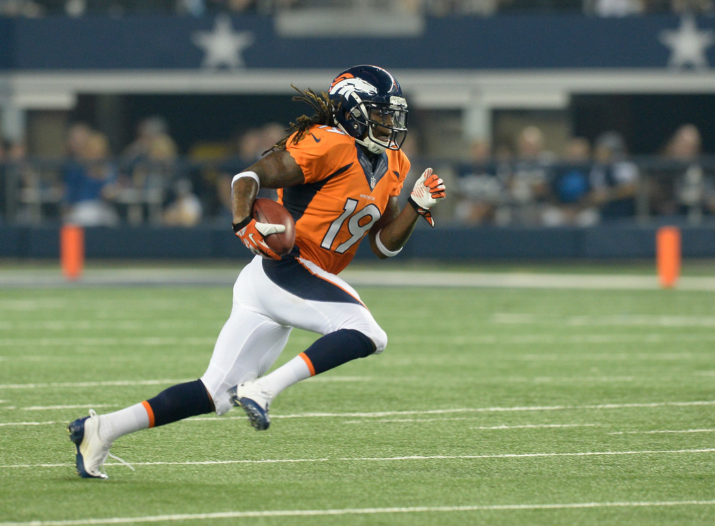 . ARLINGTON, TX - AUGUST 28: Denver Broncos wide receiver Isaiah Burse (19) returns a punt in the third quarter agains the Dallas Cowboys August 28, 2014 at AT&T Stadium. (Photo by John Leyba/The Denver Post)