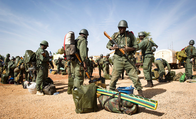 . This picture provided by the French Army Communications Audiovisual office (ECPAD) and released Monday Jan. 28, 2013 shows Malians soldiers arriving at Gao airport, north of Mali, Saturday, Jan. 26, 2013. French and Malian forces pushed toward the fabled desert town of Timbuktu on Sunday, as the two-week-long French mission gathered momentum against the Islamist extremists who have ruled the north for more than nine months. (AP Photo/Ghislain Mariette, EMA-ECPAD)