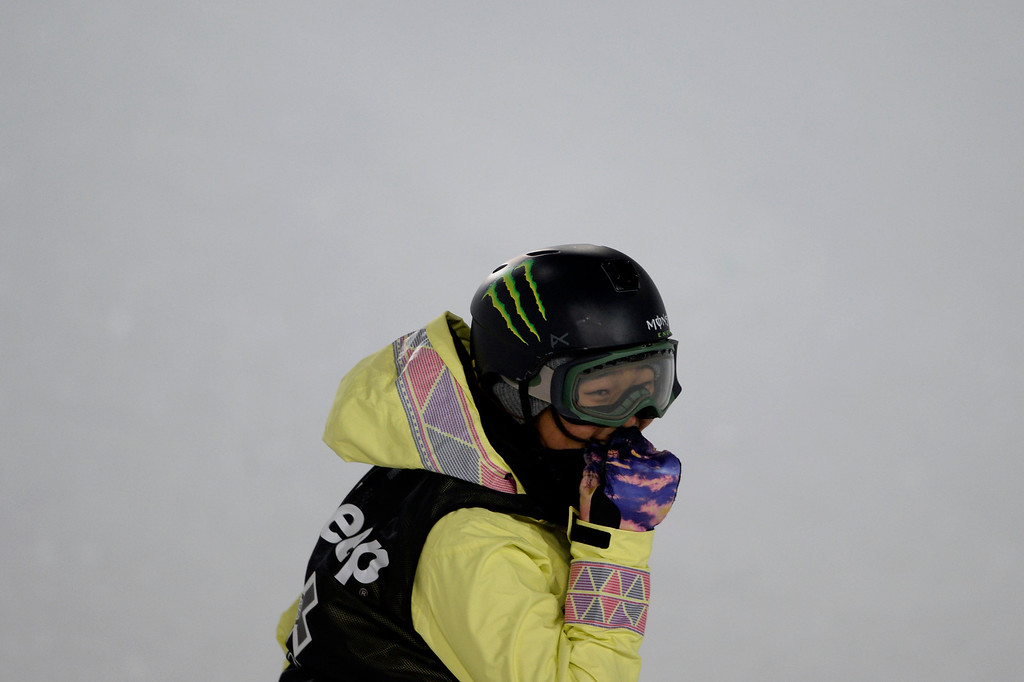 . Gold medalist Chloe Kim reacts to her final ride during the women\'s snowboard half pipe final. Winter X Games on Saturday, January 24, 2015. (Photo by AAron Ontiveroz/The Denver Post)