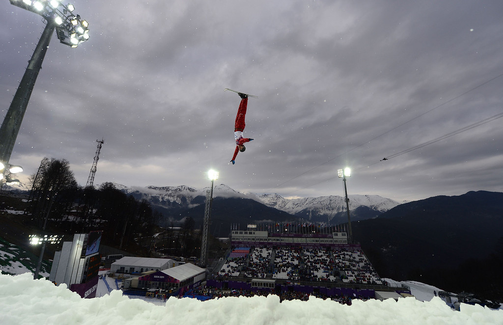 . Russia\'s Timofei Slivets competes in the Men\'s Freestyle Skiing Aerials qualifications at the Rosa Khutor Extreme Park during the Sochi Winter Olympics on February 17, 2014.   JAVIER SORIANO/AFP/Getty Images