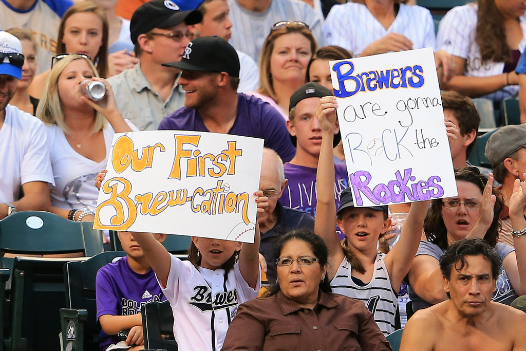 . DENVER, CO - JULY 27:  Young fans show their support of the Milwaukee Brewers as they face the Colorado Rockies at Coors Field on July 27, 2013 in Denver, Colorado.  (Photo by Doug Pensinger/Getty Images)