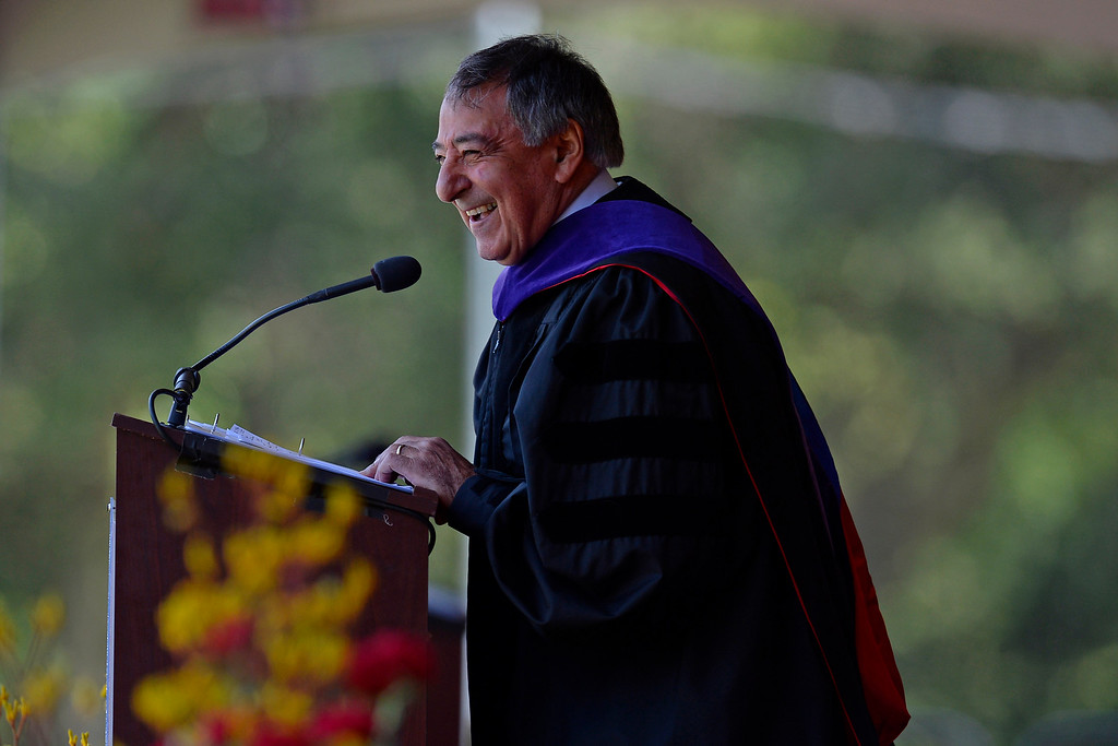 . Former Secretary of Defense Leon Panetta laughs while giving his commencement address during the 2014 Saint Mary\'s College commencement ceremony in Moraga, Calif., on Saturday, May 24, 2014. A total of 758 students graduated making this the largest graduating class in school history. (Jose Carlos Fajardo/Bay Area News Group)