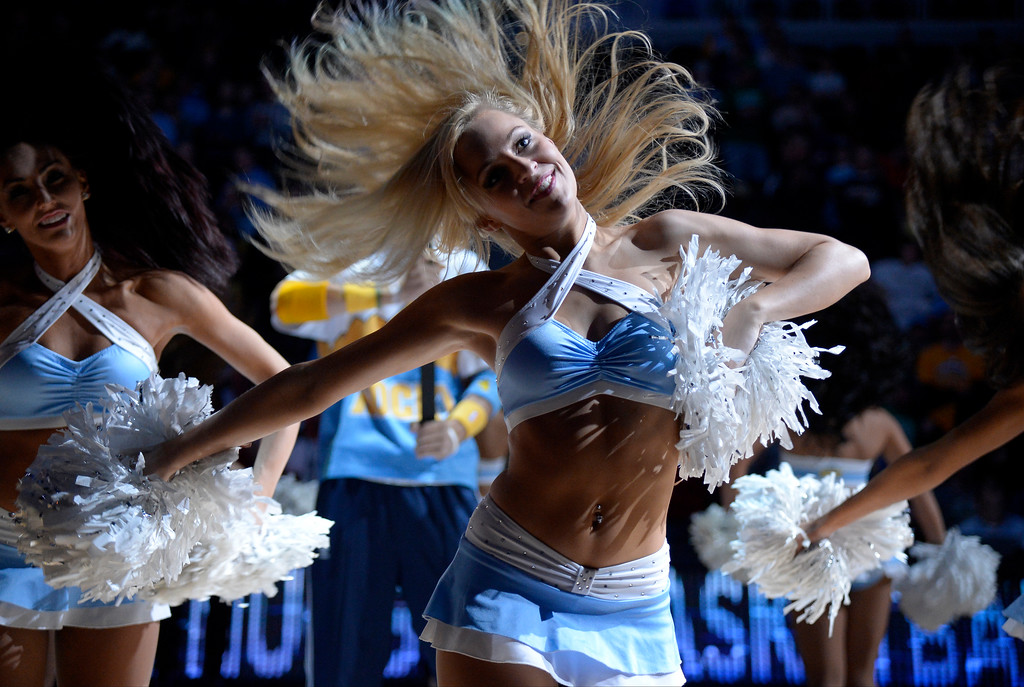 . The Denver Nuggets dance squad gets the crowd pumped during player introductions against the Boston Celtics January 7, 2014 at Pepsi Center. (Photo by John Leyba/The Denver Post)