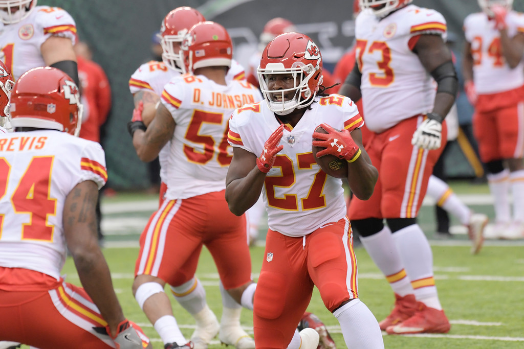 . Kansas City Chiefs\' Kareem Hunt (27) warms-up before an NFL football game between the Kansas City Chiefs and the New York Jets, Sunday, Dec. 3, 2017, in East Rutherford, N.J. (AP Photo/Bill Kostroun)