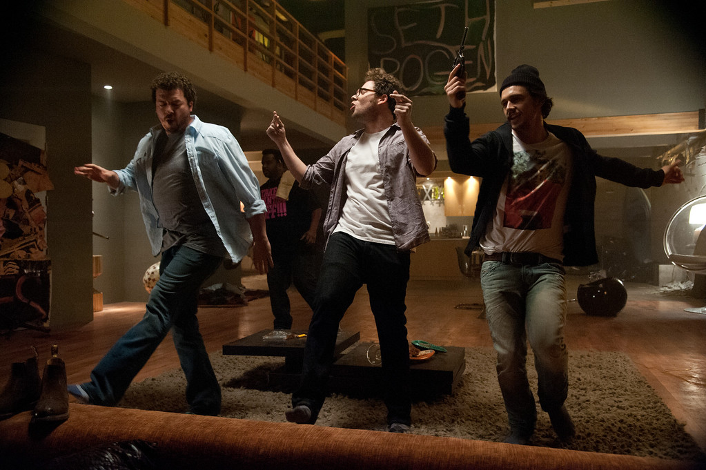 """. L-r, Danny McBride, Seth Rogen and James Franco in Columbia Pictures\' \""""This Is The End,\"""" also starring Craig Robinson, Jay Baruchel and Jonah Hill. © 2013 Columbia Pictures Industries, Inc."""