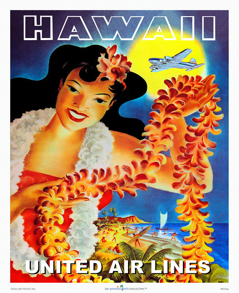 072: United Airlines poster: 'Hawaii' - Late Forties' United Airlines poster with Hawaiian wahine holding a lei through which we see Diamond Head and a lively Waikiki beach scene.