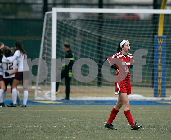 11/18/2017 Mike Orazzi | Staff Berlin's Ashley Wenzel (10) after the second Granby Memorial goal during the Class M Final at Municipal Stadium in Waterbury Saturday. Granby won 3-0.