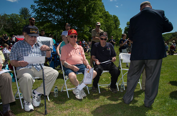05/27/19 Wesley Bunnell | Staff Bristol held Memorial Day ceremonies on Monday morning ending with a ceremony which presented World War II veterans with All Heart Awards from the city. Seated are veterans and award recipients Joseph Christophero, Joseph Caminitti, and John Fensick.
