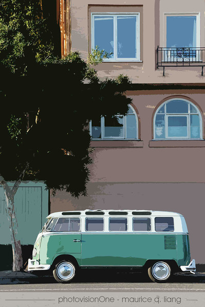 This VW bus looks picture postcard perfect parked in front of this Sausalito home.