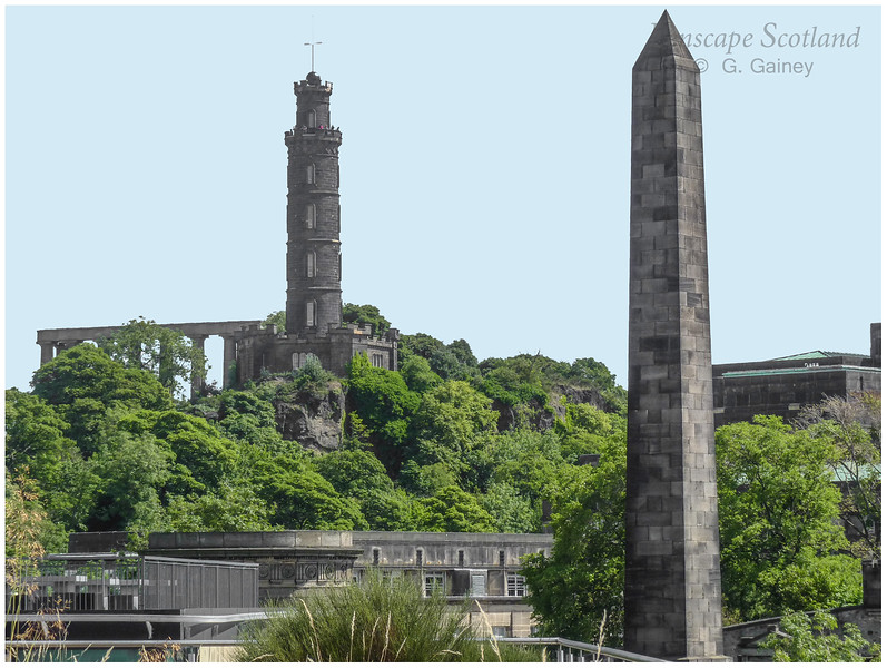 Calton Hill monuments from Waverley Gate rooftop garden
