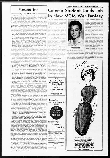 Summer Trojan, Vol. 11, No. 15, August 22, 1961