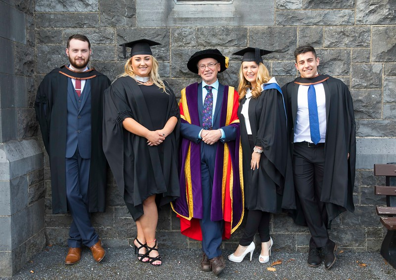 03/11/2016. Waterford Institute of Technology (WIT) Conferring Ceremonies November 2016:  Pictured are Joseph Dolan from  Galway who graduated BA (Hons) in Criminal Justice,  Studies, Nicola Marnell, Kilmanagh, Kilkenny who Graduated B.A. in Applied Social Studies in Social Care, Prof. Willie Donnelly, President of WIT, Shavanna Morris of Kilmore. Co. Wexford who Graduated B.A. in Applied Social Studies in Social Care and Erik Horvath from Kilkenny City who graduated BA (Hons) in Criminal Justice Studies. Picture: Patrick Browne