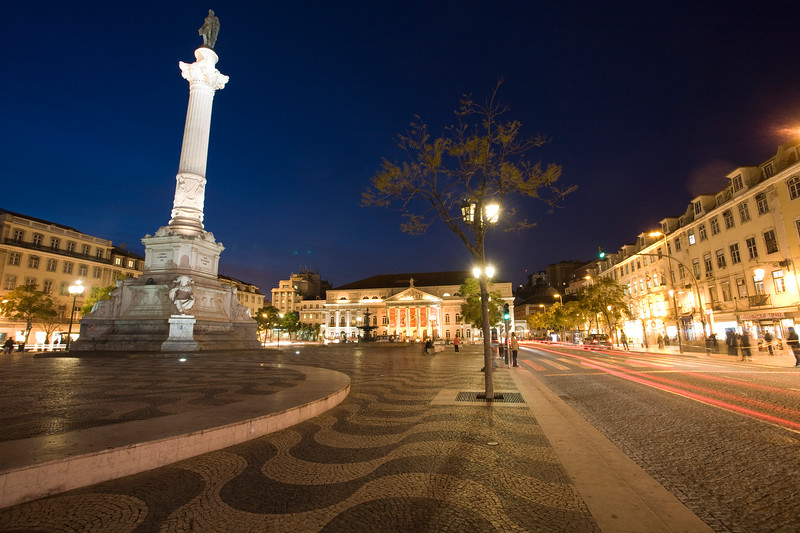 Rossio square by night, Lisbon