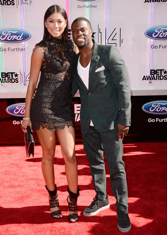 . Torrei Hart, left, and Kevin Hart arrive at the BET Awards at the Nokia Theatre on Sunday, June 29, 2014, in Los Angeles. (Photo by Dan Steinberg/Invision/AP)