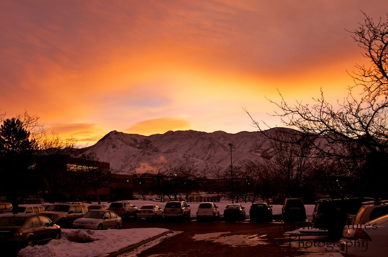 Sunrise behind the Wasatch Mountains