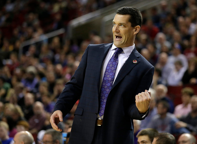 . Northern Iowa head coach Ben Jacobson calls to his team during the first half of an NCAA tournament college basketball game against Wyoming in the Round of 64 in Seattle, Friday, March 20, 2015. (AP Photo/Ted S. Warren)