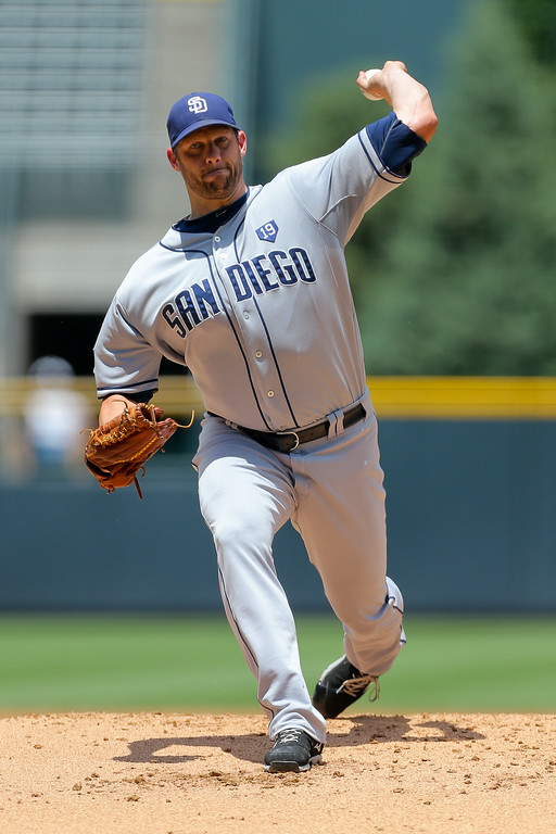 . DENVER, CO - JULY 9:  Starting pitcher Eric Stults #53 of the San Diego Padres delivers to home plate during the first inning against the Colorado Rockies at Coors Field on July 9, 2014 in Denver, Colorado. (Photo by Justin Edmonds/Getty Images)