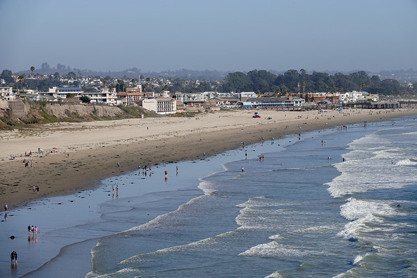 A view of the wide sands of Pismo Beach, from a nearby cliff.