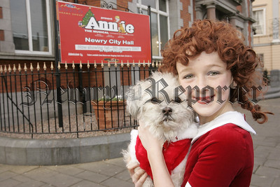"Joel McCaffery who plays Annie and Misty the dog who plays Sandy in The Musical ""Annie"" which will run in Newry City Hall from the 1st of January to the 6th of January. 06W52N10"