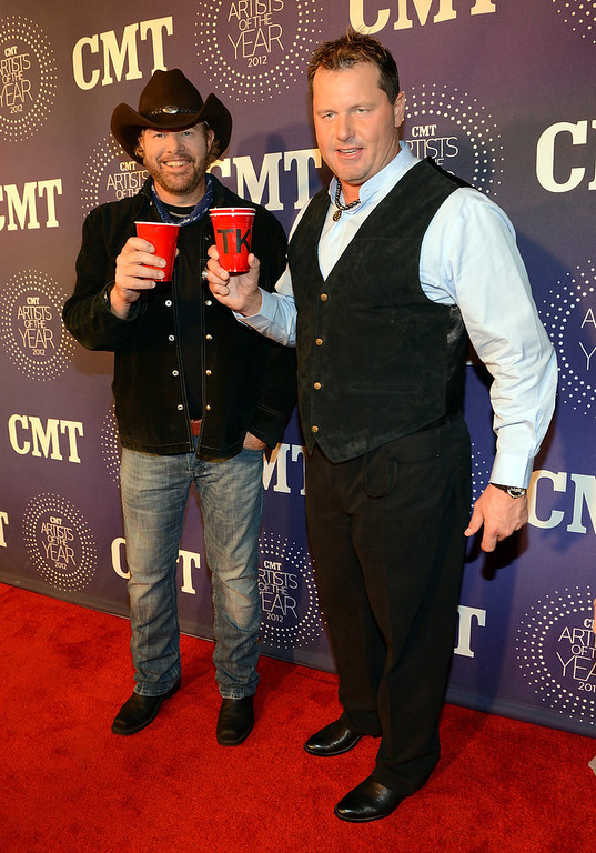 . Toby Keith and Roger Clemens attend 2012 CMT Artists Of The Year at The Factory at Franklin on December 3, 2012 in Franklin, Tennessee.  (Photo by Rick Diamond/Getty Images for CMT)