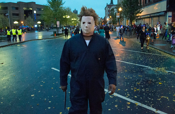 10/31/19 Wesley Bunnell | StaffrrA trick or treater dressed as Michael Myers at the New Britain Down District Halloween Safe Zone 2019.