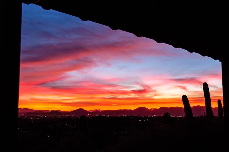 Sunset shot through the porch
