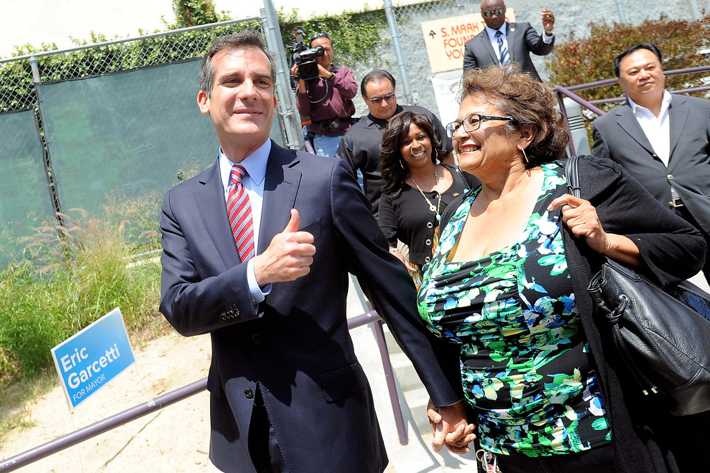 . Eric Garcetti gives a thumbs up prior to holding a press conference to discuss the election results at El Centro del Pueblo in Echo Park, CA May 22, 2013.  Eric Garcetti won the mayoral runoff Tuesday in Los Angeles.(Andy Holzman/Staff Photographer)