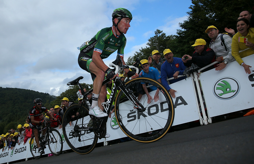 . Thomas Voeckler of France and Team Europcar makes the climb to the finish of stage ten of the 2014 Le Tour de France from Mulhouse to La Planche des Belles Filles on July 14, 2014 in La Planche des Belles Filles, France.  (Photo by Doug Pensinger/Getty Images)