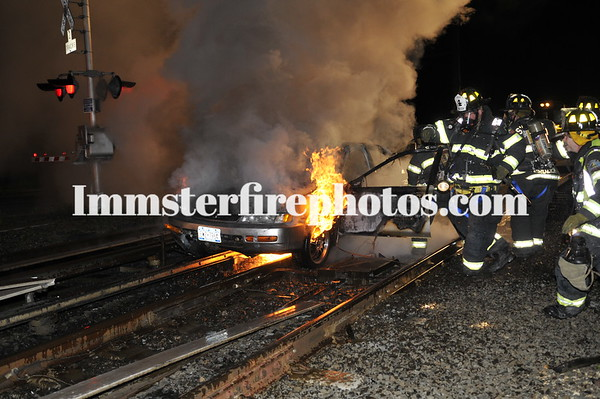 SYOSSET FD CAR FIRE ON RR TRACKS