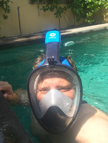 Testing our the full face snorkel mask in the pool...