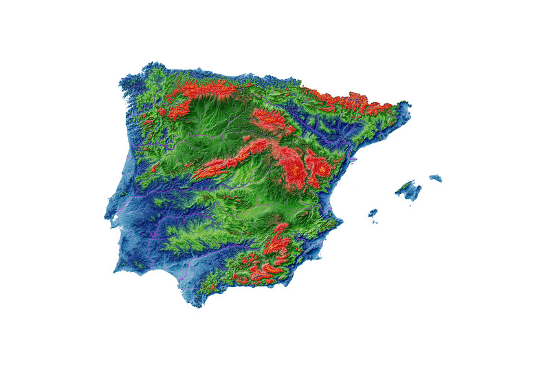 Elevation map of Iberia