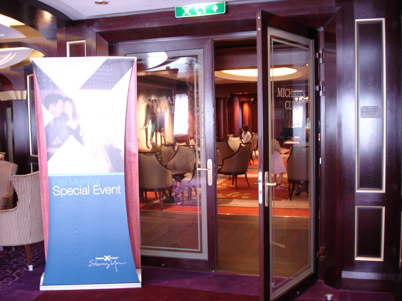 Michael's Club entrance (sign is for Elite lounge breakfast)