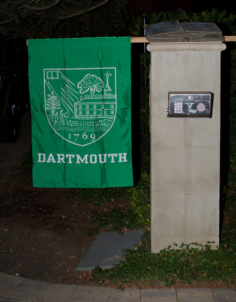 On a pleasant evening, this Dartmouth banner guided attendees to a great evening of meeting, greeting, and sharing.