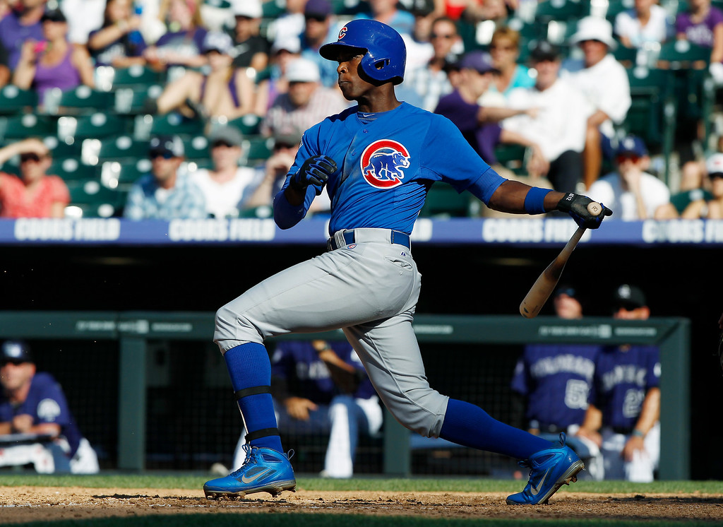 . Chicago Cubs\' Alfonso Soriano grounds out to drive in a run against the Colorado Rockies in the ninth inning of the Rockies\' 4-3 victory in a baseball game in Denver, Sunday, July 21, 2013. (AP Photo/David Zalubowski)