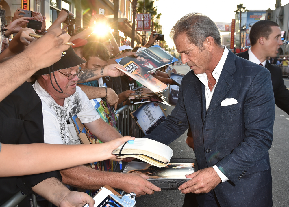 """. Actor Mel Gibson attends the premiere of Lionsgate Films\' \""""The Expendables 3\"""" at TCL Chinese Theatre on August 11, 2014 in Hollywood, California.  (Photo by Kevin Winter/Getty Images)"""