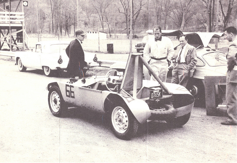 John Fitch (in driving suit) test drove the car at Lime Rock. 1959