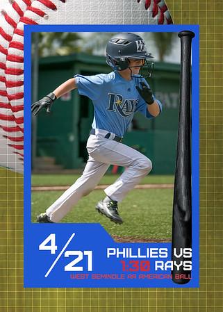 WS Phillies vs Rays - 1:30 April 21, 2018