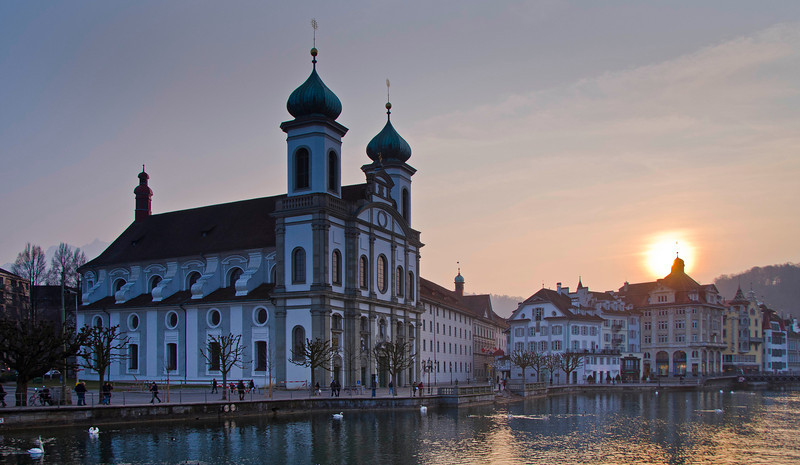 The Jesuit Church, Lucerne, Switzerland, on the Reuss River.