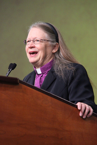Bishop Jessica Crist, nominee for presiding bishop, addresses the Assembly.