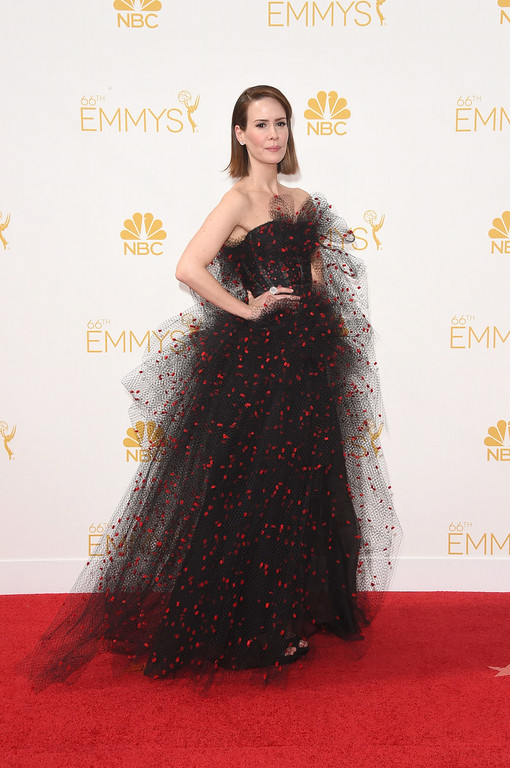 . Actress Sarah Paulson attends the 66th Annual Primetime Emmy Awards held at Nokia Theatre L.A. Live on August 25, 2014 in Los Angeles, California.  (Photo by Jason Merritt/Getty Images)