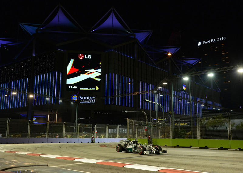 . Mercedes driver Lewis Hamilton of Britain drives his car during the second practice session of the Formula One Singapore Grand Prix at the Marina Bay Street circuit on September 19, 2014. The Singapore Grand Prix will take place on September 21. TOSHIFUMI KITAMURA/AFP/Getty Images