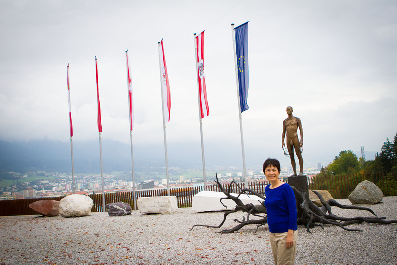 Innsbruck, Austria Ski Jump. My mom wanted a pic with the man with his junk.