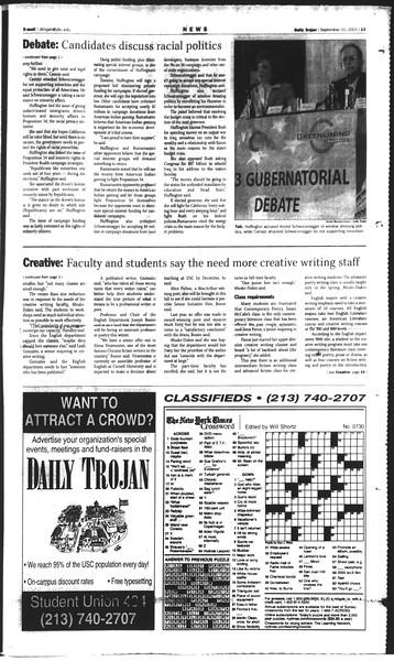 Daily Trojan, Vol. 150, No. 11, September 10, 2003