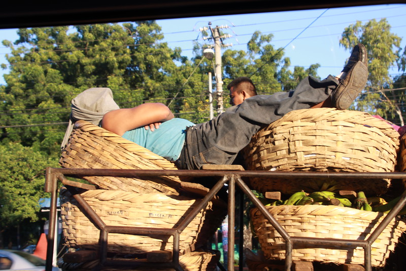 Man sleeping on truck in Managua